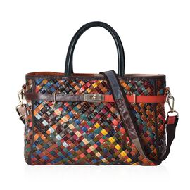 100% Genuine Leather Weave Pattern Tote Bag with Detachable Shoulder Strap (Size 32x11x25 Cm) - Mult