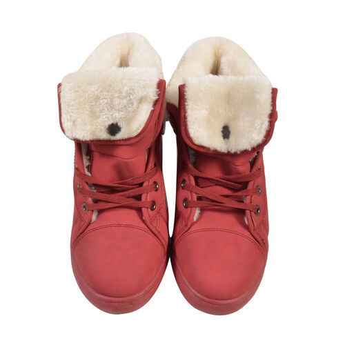 Womens Flat Faux Fur Lined Grip Sole Winter Ankle Boots (Size 5) - Red