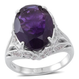 Lusaka Amethyst (Ovl 10.50 Ct), Natural White Cambodian Zircon Ring in Rhodium Plated Sterling Silve