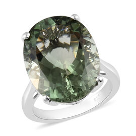 AA Prasiolite Solitaire Ring in Platinum Overlay Sterling Silver 15.70 Ct.