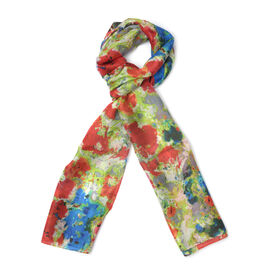 New for Season - 100% Mulberry Silk Red, Blue and Green Colour Scarf (Size 175x50 Cm)