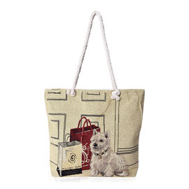 Beige and Multicolour Dog Pattern Tote Bag (Size 43x35x11x39 Cm) with Zipper Closure