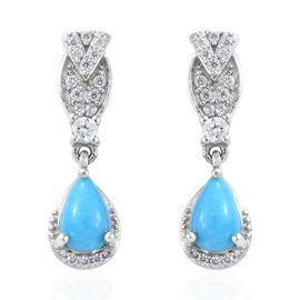 2.25 Ct AA Arizona Sleeping Beauty Turquoise and Cambodian Zircon Drop Earrings in Sterling Silver