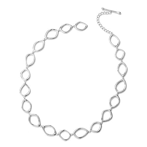 LucyQ Fluid Design Collar Necklace in Rhodium Plated Sterling Silver 50.07 Grams 20 Inch