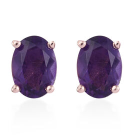 Amethyst (Ovl) Stud Earrings (with Push Back) in Rose Gold Overlay Sterling Silver 1.500 Ct.