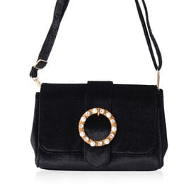 LUXE VELVET Classic Black Cross Body Bag with Glass Pearl Pendant and Adjustable Shoulder Strap (24x