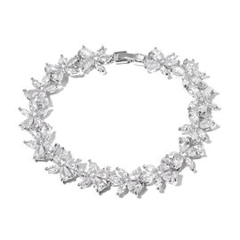 Epic Deals Special Showstopper Auction- Simulated Diamond Floral Bracelet (Size 7.5) in Silver Plated
