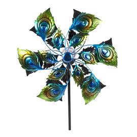 Hand Painted Peacock Feather Pattern Wind Spinner with Solar Powered LED Size 48.2x20.3x177.8 Cm