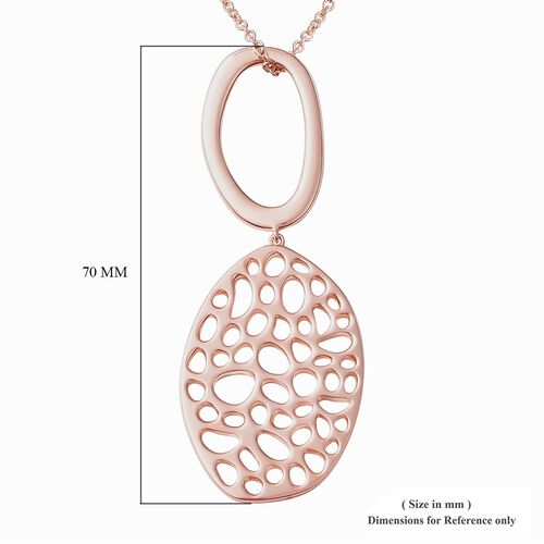 RACHEL GALLEY Rose Gold Plated Sterling Silver Lattice Pendant with Chain (Size 30), Silver wt 20.80 Gms.