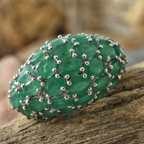 Kagem Zambian Emerald (Ovl) Cluster Ring in 14K Gold Overlay Sterling Silver 7.000 Ct. Silver wt 6.53 Gms.