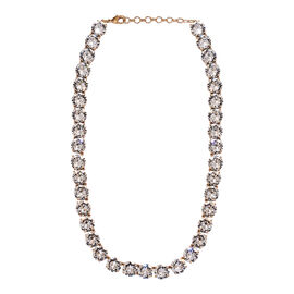 J Francis - Crystal from Swarovski White Crystal (Rnd 11.8 mm) Tennis Necklace (Size 18 with 2 inch
