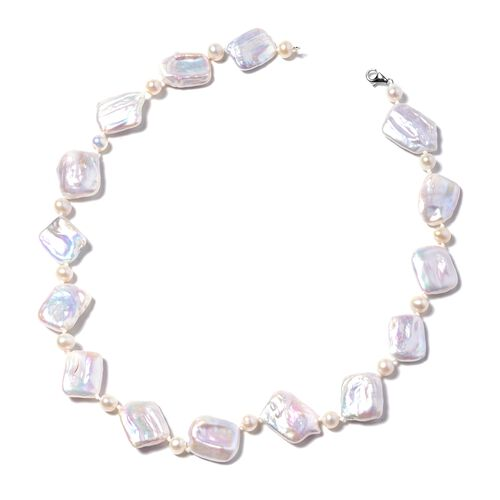 ILIANA Keshi White Pearl and Freshwater White Pearl Beaded Necklace in 18K White Gold