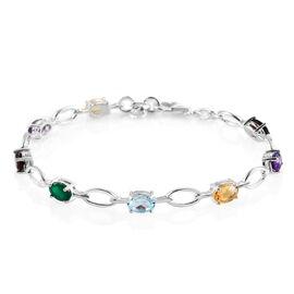 Multi Gemstone Link Bracelet (Size - 7) in Sterling Silver 3.29 Ct.