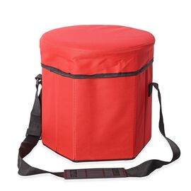 Foldable Multi-Function Cooler Stool - Red (Size 30x30x30Cm)