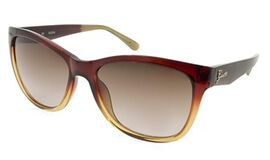 GUESS Red Brown Square Sunglasses with Brown Gradient Lenses