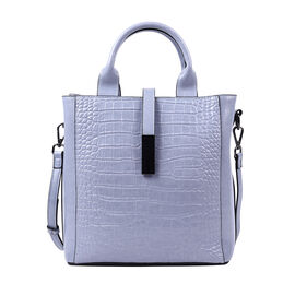 Sencillez Croc Embossed 100% Genuine Leather Convertible Bag in Blue