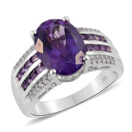6.5 Ct Amethyst and Cambodian Zircon Ring in Platinum Plated Sterling Silver 6.96 Grams