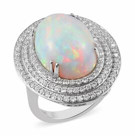 RHAPSODY 950 Platinum AAAA Ethiopian Welo Opal and Diamond Ring 10.50 Ct, Platinum wt 12.00 Gms