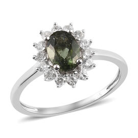 AA Moldavite and Natural Cambodian Zircon Halo Ring in Platinum Overlay Sterling Silver 1.25 Ct.