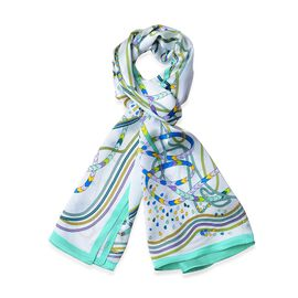 100% Mulberry Silk White, Turquoise Green and Multi Colour Art Stripes Pattern Scarf (Size 170x52 Cm