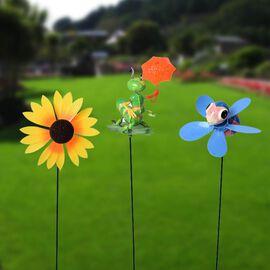 3 Piece Set - Decoratoive Bee, Sunflower and Caterpillar Windmill (Height 48-56cm) - Blue, Yellow an
