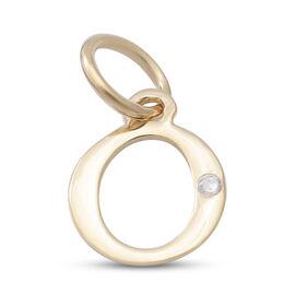 9K Yellow Gold Diamond Initial O Pendant