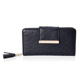 Dot Pattern Wallet with 5 Slip Pocket, 6 Card Slots and 1 Zip Pocket (Size 19.2x10x4 Cm) - Black