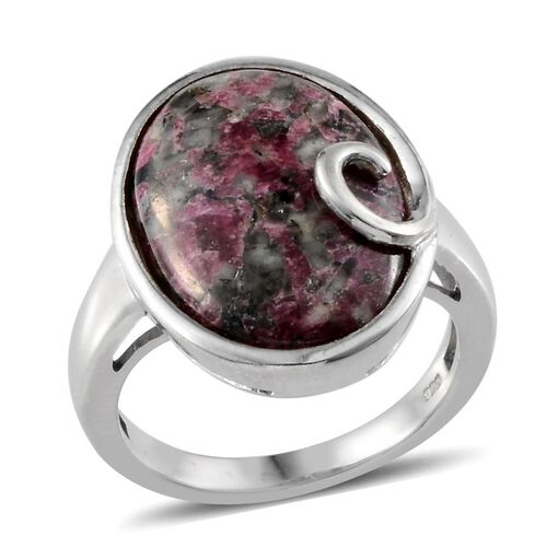 Natural Russian Eudialyte (Ovl) Solitaire Ring in Platinum Overlay Sterling Silver 7.000 Ct.