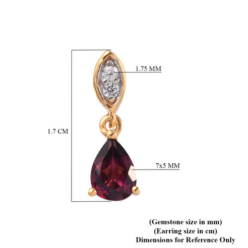 Rhodolite Garnet and Natural Cambodian Zircon Dangling Earrings (with Push Back) in 14K Gold Overlay Sterling Silver 1.85 Ct.