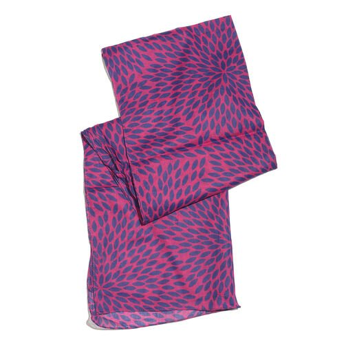 100% Cotton Blue and Pink Colour Leaves Printed Towel (Size 160x90 Cm), Pareo (Size 160x50 Cm) and Bag (Size 35x33 Cm)