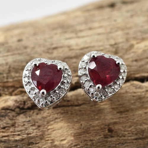 9K White Gold AA African Ruby (Hrt), Diamond Earrings with Push Back1.500 Ct.