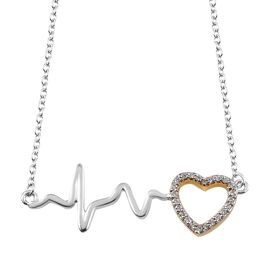 J Francis - Yellow Gold and Platinum Overlay Sterling Silver (Rnd) Pulsing Heart Necklace (Size 18)