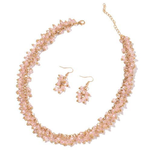 Simulated Pink Diamond Necklace (Size 18 with 2 inch Extender) and Hook Earrings