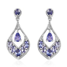 Tanzanite (Pear and Mrq) Earrings (with Push Back) in Platinum Overlay Sterling Silver 2.50 Ct, Silv