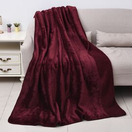 High-Quality Flannel Sherpa Bonded Blanket (Size 200x150 Cm) - Wine Red