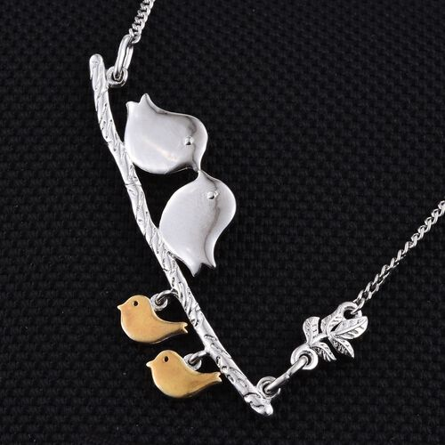 Bird Family Silver Necklace in 2 Tone Platinum and Gold Overlay Size 18 Inch, 8.70 Gms.