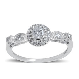 14K White Gold IGI Certified Diamond (Rnd) (I2/G-H) Ring 0.500 Ct.