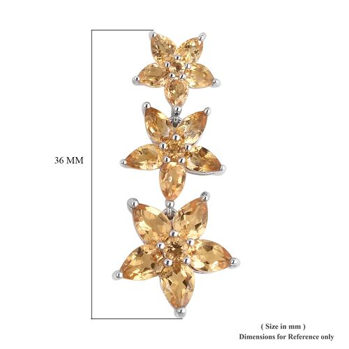 Citrine (Pear) Falling Flowers Earrings (with Push Back) in Rhodium Plated Sterling Silver 7.870 Ct. Silver wt 7.48 Gms.