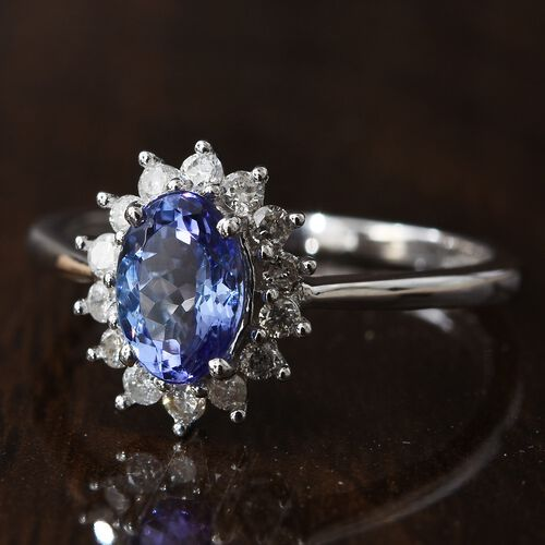 9K White Gold AA Tanzanite (Ovl), Diamond Ring 1.000 Ct.