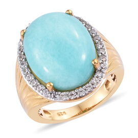 11.75 Ct Peruian Amazonite and Cambodian Zircon Halo Ring in Gold Plated Sterling Silver 6.42 Grams