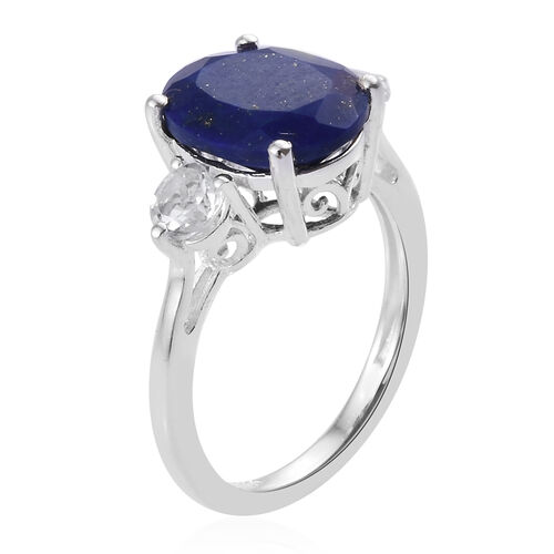 Lapis Lazuli (Ovl 3.00 Ct), White Topaz Ring in Sterling Silver 3.500  Ct.