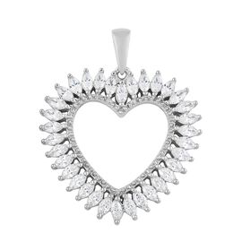 J Francis - Platinum Overlay Sterling Silver (Mrq) Heart Pendant Made with SWAROVSKI ZIRCONIA. Silver wt 5.48 Gms.