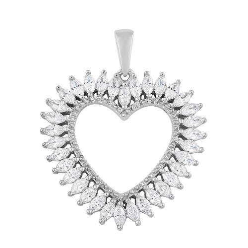 J Francis - Platinum Overlay Sterling Silver (Mrq) Heart Pendant Made with SWAROVSKI ZIRCONIA. Silve