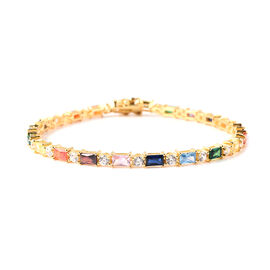ELANZA Simulated Rainbow Sapphire and Simulated Diamond Bracelet in Gold Plated Silver 8 Inch
