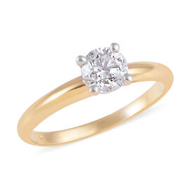 SIGNATURE COLLECTION 18K Yellow Gold SGL CERTIFIED Diamond (Rnd) (I1/ G-H) Solitaire Ring 0.75 Ct.