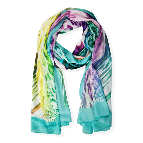Purple, Turquoise and Multi Colour Leopard Print and  Zebra Pattern Scarf (Size 175x70 Cm)