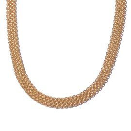 Yellow Gold Overlay Sterling Silver Fancy Bismark Necklace (Size 20), Silver wt 24.00 Gms.