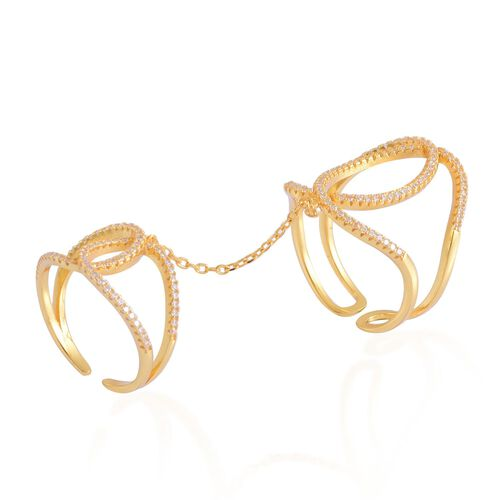 ELANZA AAA Simulated White Diamond 2 Rings with Chain in Yellow Gold Overlay Sterling Silver