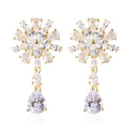 ELANZA Simulated Diamond (Pear and Mrq) Earrings (with Push Back) in Yellow Gold Overlay Sterling Si