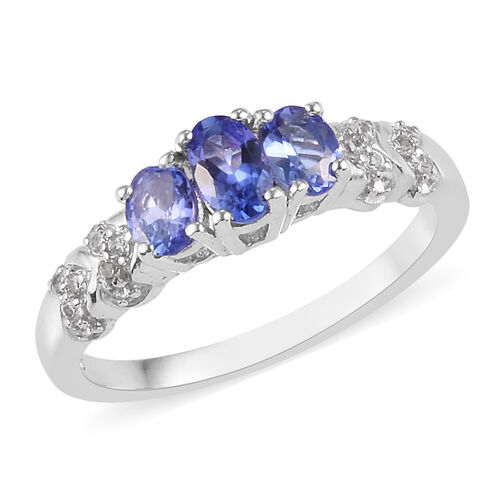 AAA Tanzanite and Natural Cambodian Zircon Ring in Platinum Overlay Sterling Silver